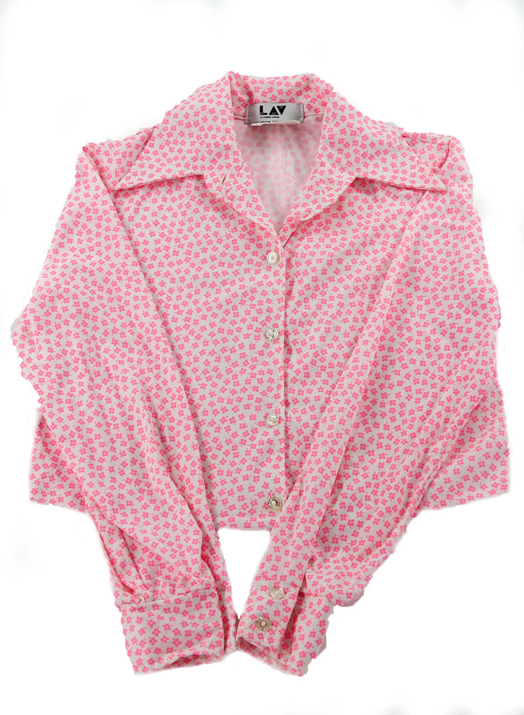 Pink Ditsy Flower 70s Printed Blouse