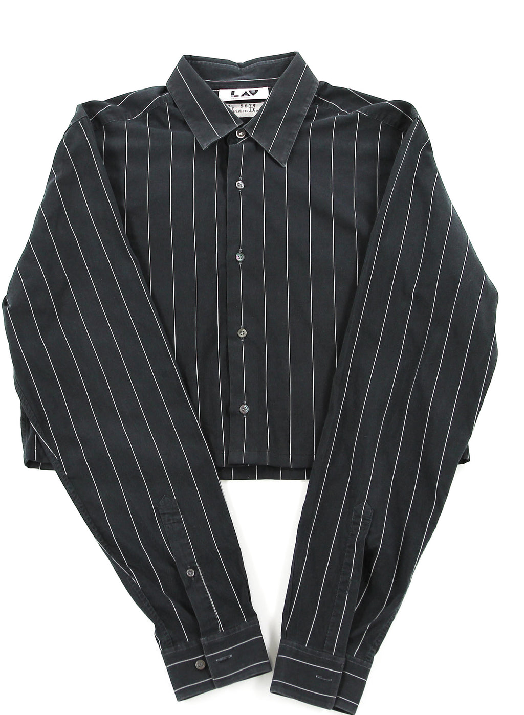 Christian Dior Black Striped Cropped Shirt