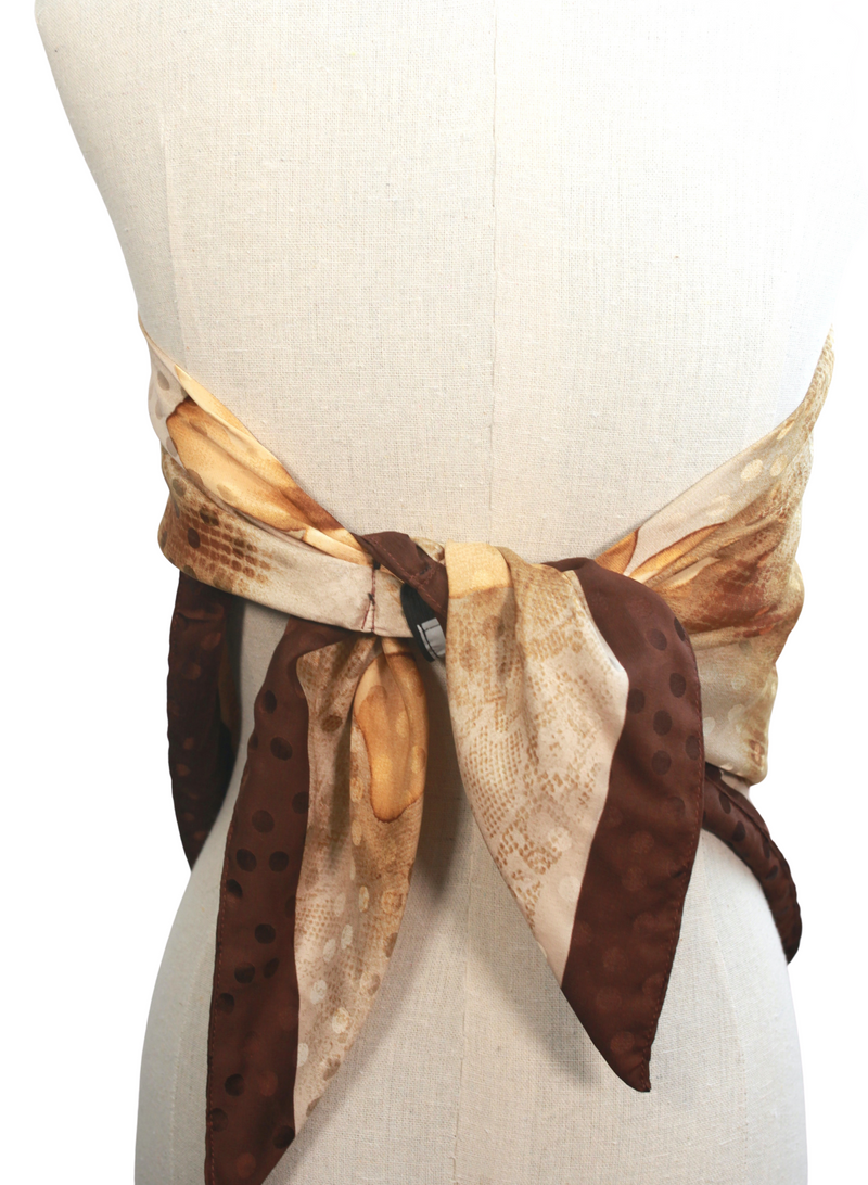 Brown, Cream and Golden Flower Silk Scarf Top