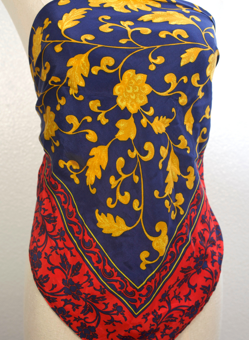 Blue, Red and Gold Silk Scarf Top