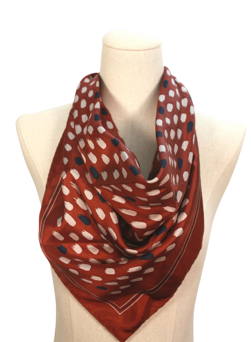 Auburn Brush Stroked Silk Scarf Top