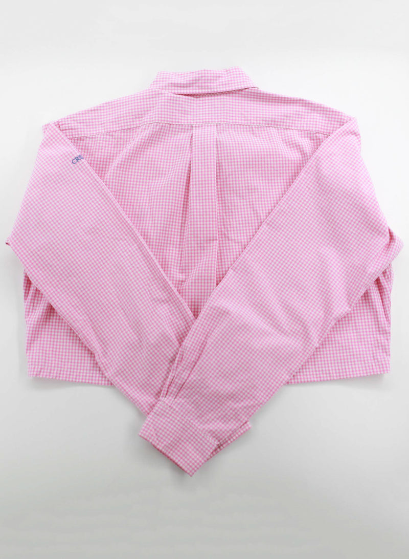 Pink Plaid Cropped Polo Shirt