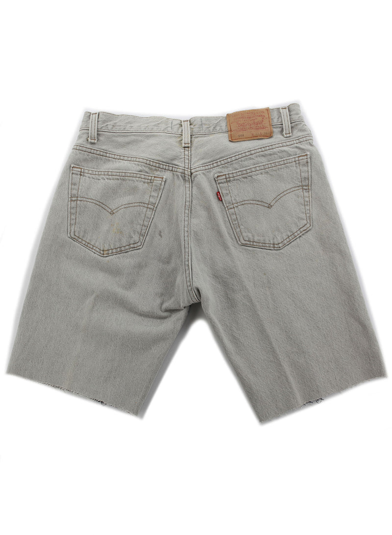 A Black and Gray Patched Denim Shorts