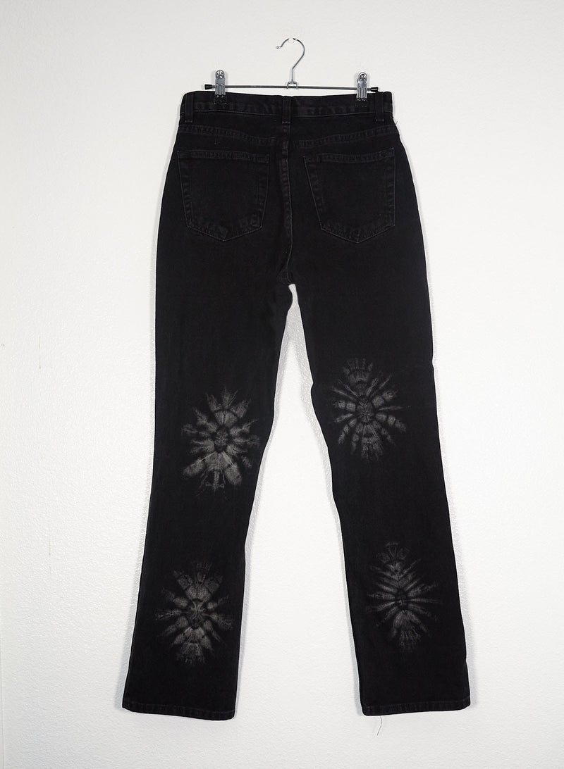 Black Floral Tie Dyed Jeans