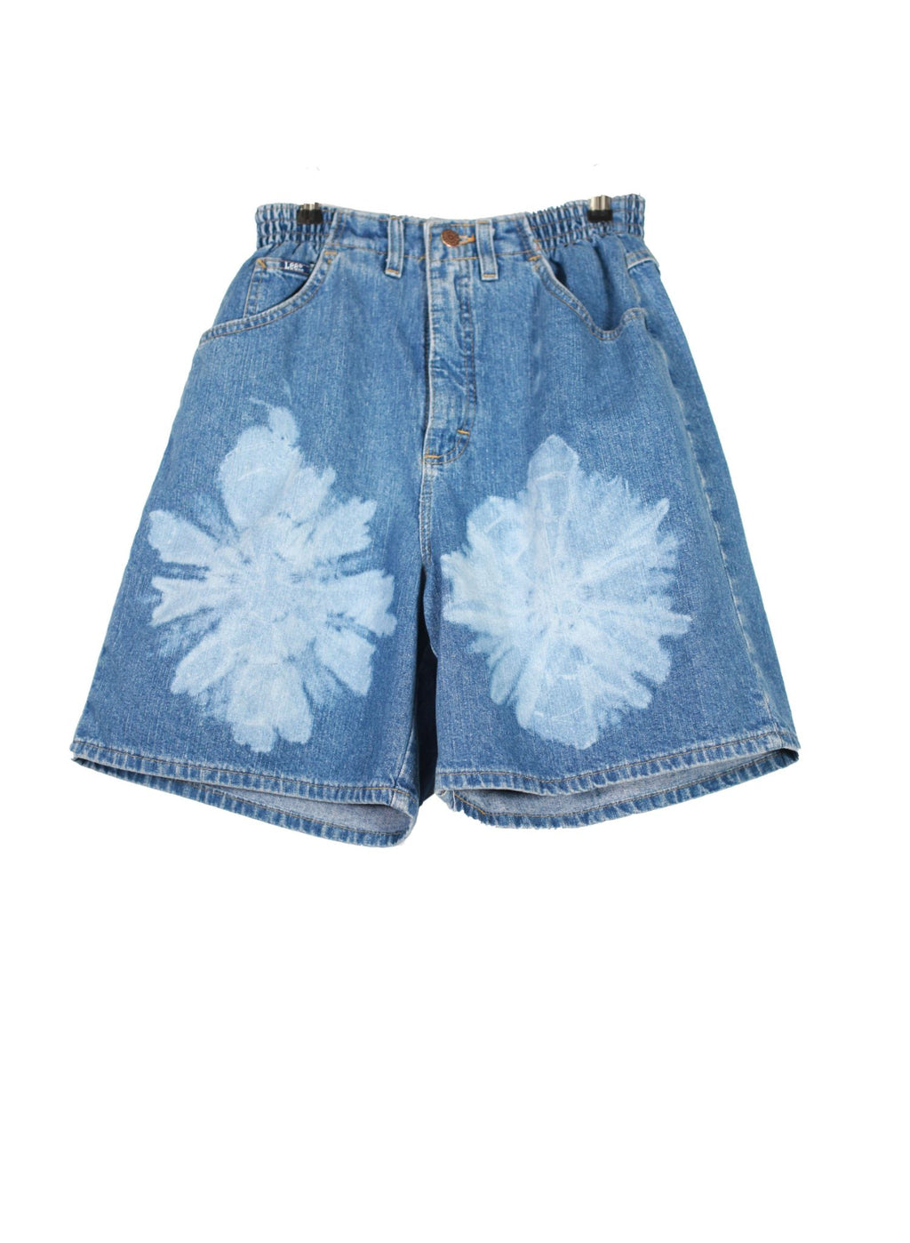 High Waisted Lee Flower Dyed Denim Shorts