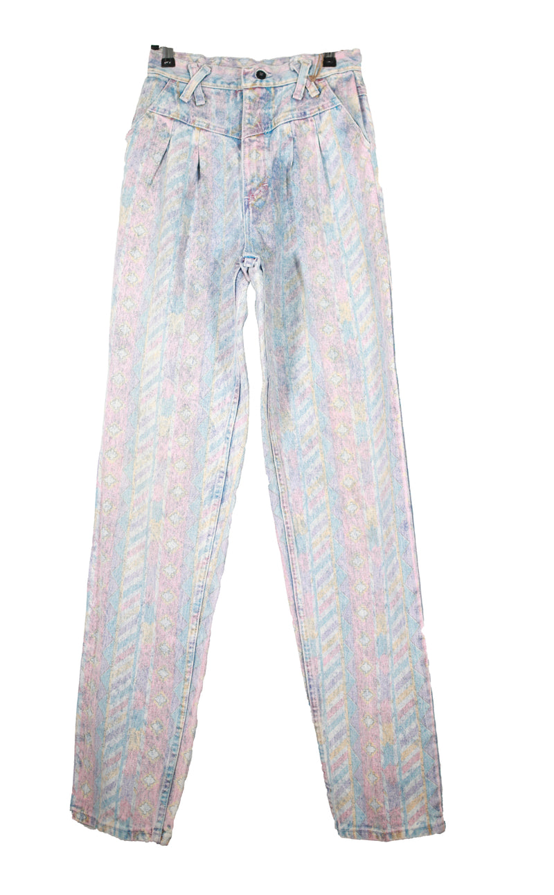 Metallic Printed Criss Cross Jeans