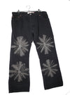 Black and Gray Flower Painted Denim Pants