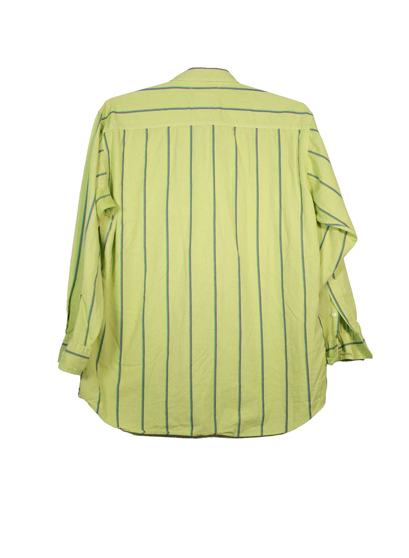 Classic Neon Green Striped Button Up Shirt