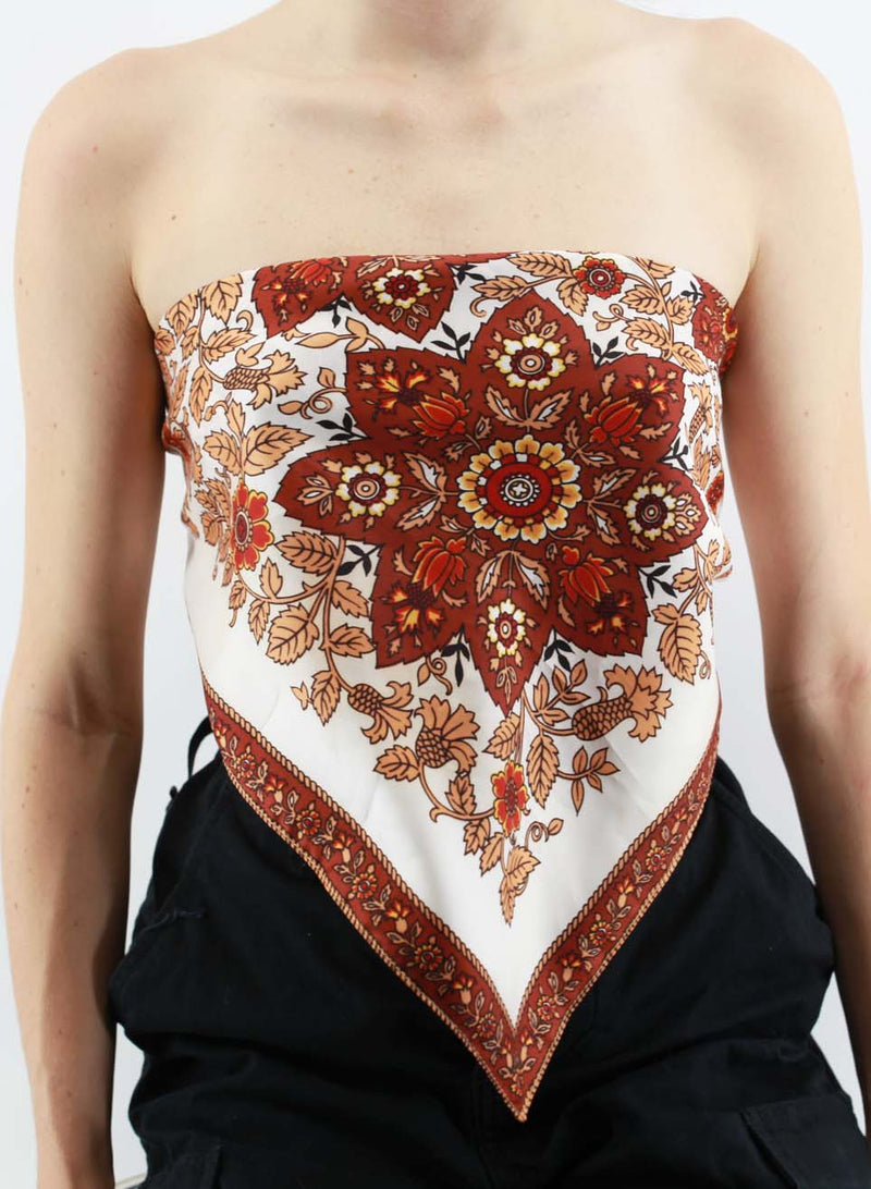 Paisley Brown Scarf Top