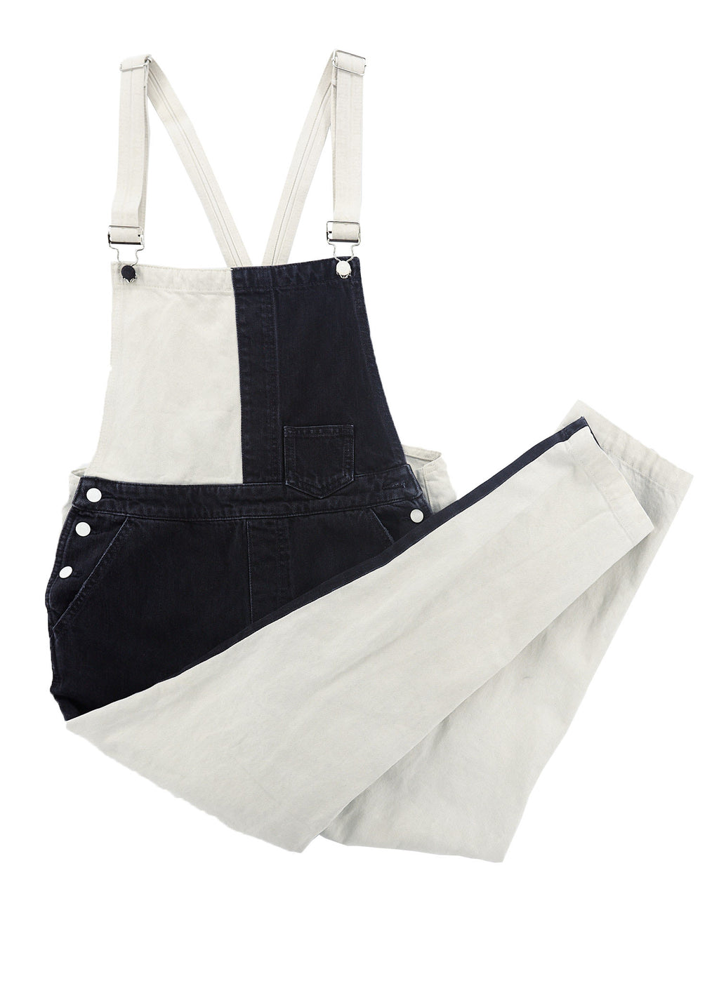 GUESS Black and White Split Denim Overalls