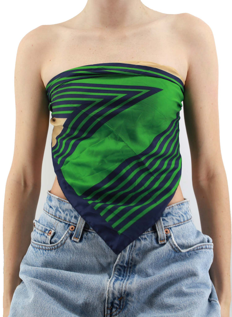 ZigZag Green and Blue Silk Scarf Top