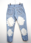 Flower Painted Light Wash Jeans