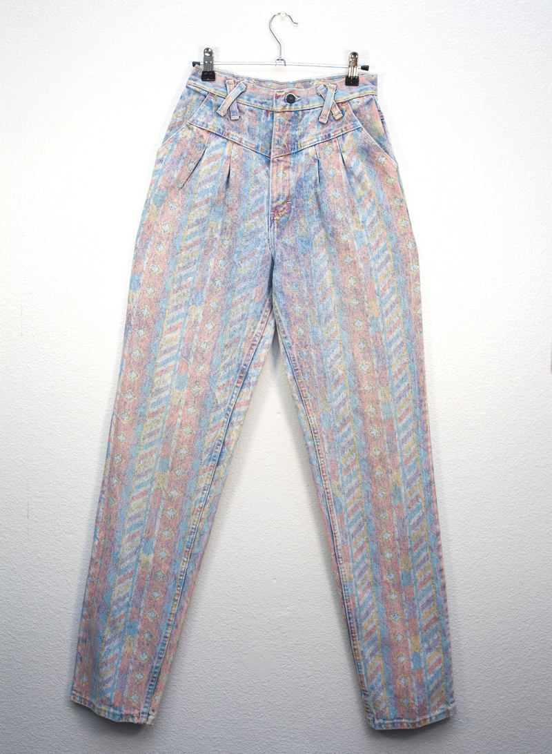 Pastel Patterned Criss Cross Jeans