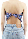 Purple Snowflake Pattern Silk Scarf Top