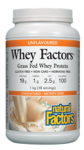 Whey Factors®Protéine de lactosérum 100% naturelle, non aromatisée. Natural factors