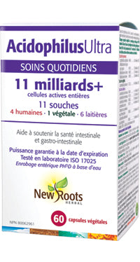 Probiotique à enrobage entérique. Acidophilus Ultra. 11 Milliards+ New Roots.