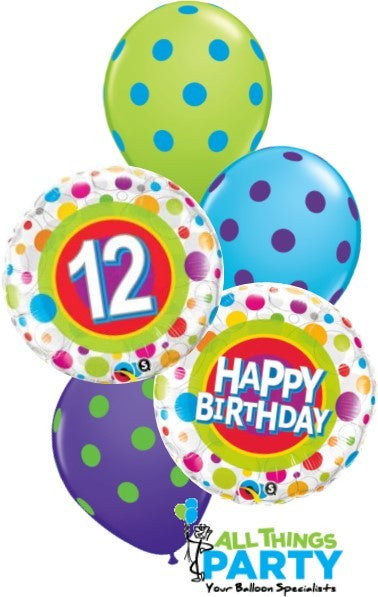 Happy 12th Birthday Polka Dot Balloon Bouquet