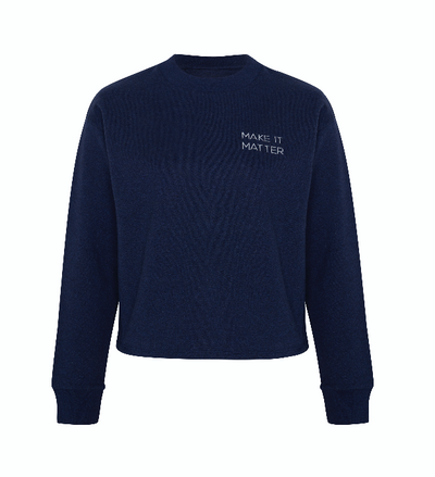 Sweater Blau mit Make It Matter Aufdruck