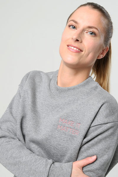 Sweater Grau mit Make It Matter Aufdruck - 100 % Bio-Baumwolle Ambiletics sustainable Yoga- & Activewear