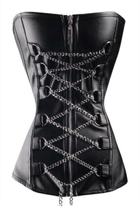 Black Leather Laced Chain Buckles Gothic Overbust Corset Waist Training - CorsetsNmore