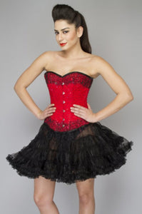 Red Satin Handmade Sequins Overbust Plus Size Corset Dress with Tutu Skirt - CorsetsNmore