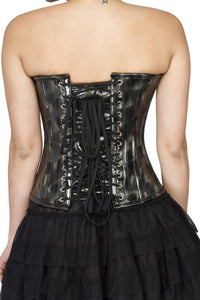 Plus Size Black Leather Waist Cincher Overbust Corset Satin Net Tutu Skirt Women Dress - CorsetsNmore