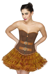 Brown Cotton Brocade with Leather Belts Overbust Plus Size Corset Poly Tissue Tutu Skirt Dress - CorsetsNmore