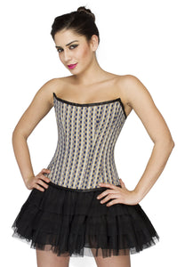 Black White Check Polyester Overbust Plus Size Corset Satin Net Tutu Skirt - CorsetsNmore