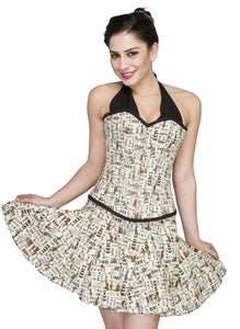 Newspaper Cotton Printed Plus Size Halter Neck Overbust Corset Tutu Skirt - CorsetsNmore