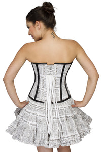 Newspaper Printed Cotton Overbust Plus Size Corset Tutu Skirt - CorsetsNmore