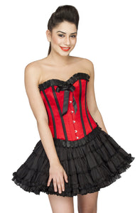 Red Satin Black Frill Overbust Plus Size Corset Cotton Silk Tutu Skirt - CorsetsNmore