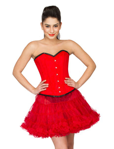 Red Velvet Gothic Burlesque Costume Overbust Corset Top