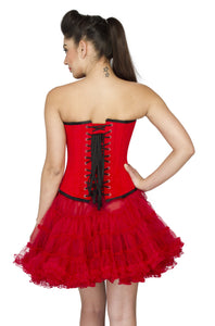 Red Velvet Gothic Burlesque Overbust Plus Size Corset Red Tissue Tutu Skirt - CorsetsNmore