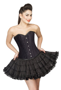 Black Velvet Overbust Plus Size Corset Waist Training With Cotton Silk Tutu Skirt - CorsetsNmore