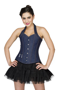 Blue Denim Halter Neck Overbust Plus Size Corset With Black Satin Net Tutu Skirt - CorsetsNmore
