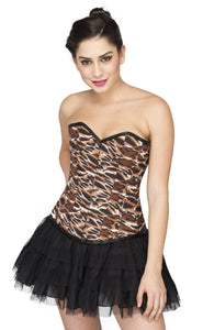 Plus Size Sexy Tiger Animal Print Polyester Overbust Corset With Satin Net Tutu Skirt - CorsetsNmore