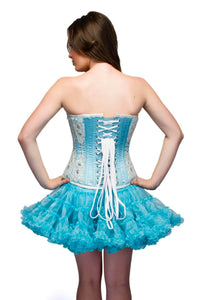 Baby Blue Satin White Sequins Corset Dress Overbust Top-
