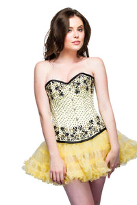 Yellow Satin Black Sequins Corset For Halloween Dress Overbust Top-