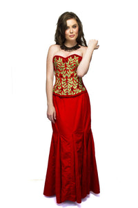 Red Velvet Embroidery Overbust Plus Size Corset & Long Skirt Women Dress - CorsetsNmore
