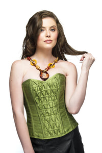 Pea Green Silk Overbust Plus Size Corset Top & Long Faux Leather Skirt - CorsetsNmore