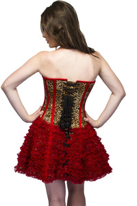 Leopard Animal Print Side Zipper Overbust Plus Size Corset Waist Training & Red Tissue Skirt - CorsetsNmore