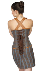 Cotton And Leather Straps Overbust Plus Size  Corset Top & Cotton Mini Skirt - CorsetsNmore