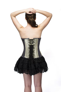 Plus Size Golden Black Georgette Sequins Overbust Corset & Tutu Skirt Dress - CorsetsNmore