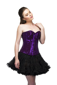 Purple Georgette Sequins Overbust Plus Size Corset Top Black Poly Tissue Tutu Skirt - CorsetsNmore