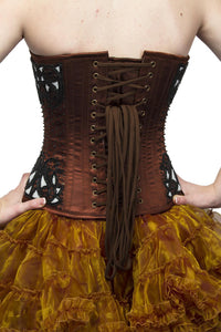 Brown Satin Black Sequins Overbust Plus Size Corset Top & Tissue Tutu Skirt - CorsetsNmore