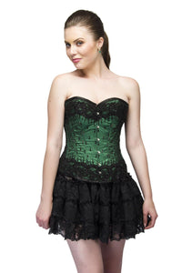Green Satin Black Sequins Work Overbust Plus Size Corset Top & Net Tutu Skirt - CorsetsNmore