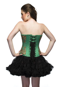 Green Satin Burgundy Sequins Overbust Plus Size Corset Top & Poly Tissue Tutu Skirt - CorsetsNmore
