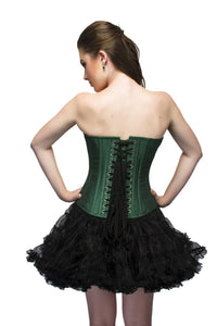 Green Silk Sequins Front Zipper Overbust Plus Size Corset & Black Tissue Tutu Skirt - CorsetsNmore