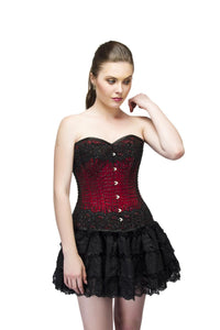 Red Satin Black Handmade Sequins Overbust Plus Size Corset & Tutu Skirt - CorsetsNmore