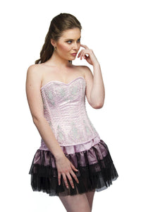 Baby Pink Sequins Overbust Plus Size Corset Top & Black Satin Net Tutu Skirt - CorsetsNmore